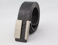 high quality low price brand new Fashion Metal Smooth Buckle leather Belt for men PU leather with brand LOGO drop shipping