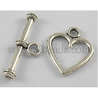 Tibetan Silver Toggle Clasps,  Lead Free,  Cadmium Free and Nickel Free,  Heart,  Antique Silver,  Toggle: about 12mm wide