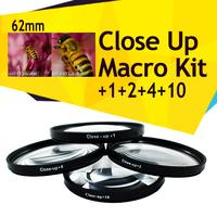 62mm Close Up Macro lens Filter kit +1 +2 +4 +10 for Pentax K5 K-5 18-135mm lens Free Shipping