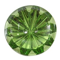 Acrylic Rhinestone Beads,  Green,  Flat Round,  about 30mm in diameter,  9mm thick,  hole: 2mm
