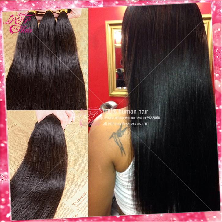 Ali POP hair Brazilian virgin hair straight Hot selling Brazilian virign hair human hair weave straight dyeable and bleachable(China (Mainland))