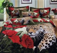 100% cotton luxury queen king size 3d bed set bedding set /bedclothes Animal Lion tiger leopard printed duvet cover bedspread