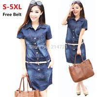 Summer 2014 Short sleeved denim dresses bull-puncher Dress big woman jeans dress women's clothing plus size XXXXL XXXXXL 5XL