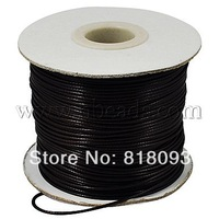 Waxed Polyester Cord,  Bead Cord,  Black,  0.8mm; about 200yards/roll