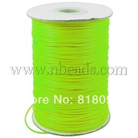 Waxed Polyester Cord,  Bead Cord,  LawnGreen,  0.5mm