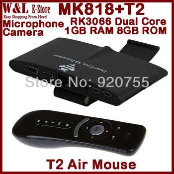 MK818 Android TV Box Dual Core MINI PC RK3066 1GB RAM 8GB ROM AV RJ45 Camera Air Mouse T2