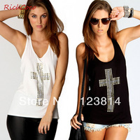 Free Shipping T Shirt Women Crop Top Rhinestones Cross Sexy Hot Diamond Backless O-Neck Offshoulder Slim Tank Tube Vest Top D019