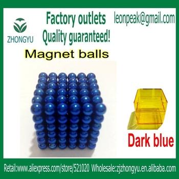 Free shipping 5mm dark blue color magnet balls neocube buckyballs + plastic box