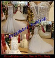DMR004 Original Dress New Arrival Super Luxurious Vintage Crystal Mermaid Wedding Dresses 2014 Fashion