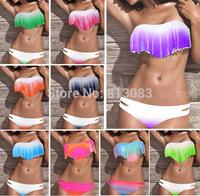 2014 NWT Women Beach Bathing Suit Sexy Padded Swim Wear Swimsuit Tassel Fringe Top and Bottom Bikini 16 Colors S M L #P048