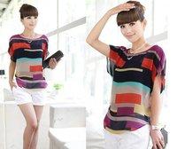 Blusas women  2014 Hot sale Girls Multi-colour print Stripe Loose style Plus size Short Sleeve Chiffon Blouses Shirt Tops