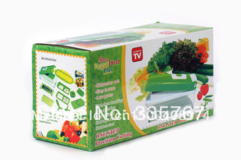 Free shipping genius nicer dicer plus AS SEEN ON TV -one step precision cutting kitchen tools