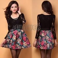 Korean Elegant Women's Ladies Painting flowers Print Pattern Splicing Lace + Woolen Dress With Belt drop shipping 31