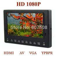 hd 1080p 7 Inch On-Camera field Monitor (HDMI/AV/VGA/ YPbPr Video input) W/ sun hood 5D2 dslr monitor