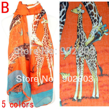 Hot offer !2013 popular women's Giraffe printing spring & autumn animal scarf shawl wholesale  ,NL-1862