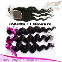 "Grade 5A, 1 Lace Top Closure with 3 bundle hair extensions,4pcs/lot,Brazilian Vir gin Hair loose wave,12""-28"" DHL free shipping"