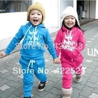 Free shipping!2014 children's spring clothing male female child baby velvet child sports set baby set