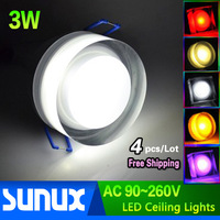 4pcs/Lot Free Shipping 3W LED Recessed Ceiling Lights with Round Acrylic Mask Epistar Chip 100~110lm/W CE & RoHS Certified