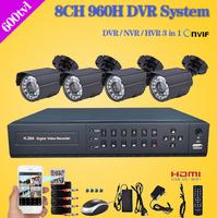 8 Channel cctv Security camera with DVR Recorder System 4pcs 480TVL Camera video Kit 8ch 960h dvr NVR surveillance system