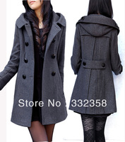 Free Shipping hot sales Brand Double Bristed Warm Wool Coat with Hood,long winter jacket black / grey/ extra size women overwear