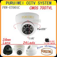 100% Original 1/4''CMOS 700tvl With IR-CUT 24leds Night Vision Indoor Dome Video Surveillance Security CCTV Camera free shipping