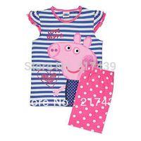 Brand New Peppa Pig girl girls short sleeve blue and white striped summer pyjamas pajamas pyjama sleepwear Pjs set