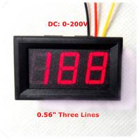 "New 0.56"" Digital Voltmeter DC:0-200V Three wires Voltage Panel Meter led Display Color: Red [ 4 pieces / lot]"