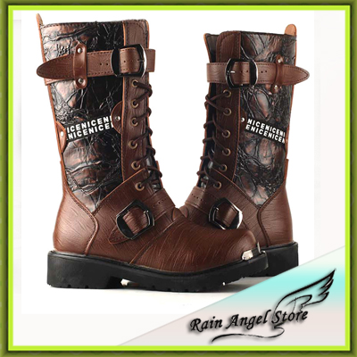 2014 Hot Selling High Quality Winter Vintage High Western Boots Men's Black Motorcycle Winter Boots For Men Brown(China (Mainland))