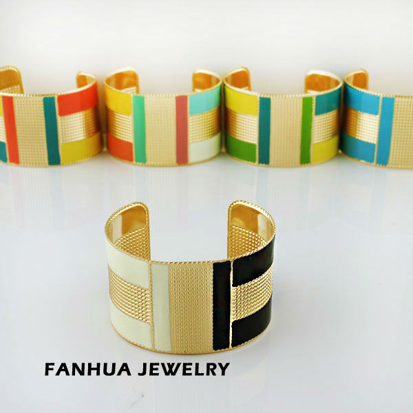 Fashion Jewelry 2013 Christmas Gift Gold Color Alloy Cool Punk Iridescent Enamel Cuff Bangles Bracelets(China (Mainland))