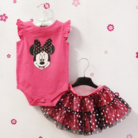 2013 Summer Brand Pink minnie Mouse Buckle Romper+Heart Polka Dot chiffon skirt dress baby Clothing Clothes set For Baby girls