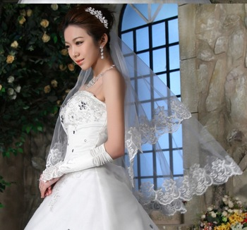 Free Shipping, New Double Wedding Veil the Bridal Veil Without Comb Lace Promotion Price Drop Shipping, PH0007