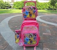 Girls  School  Bag      Trolley bags+ Luch bag +PenBag   Kids  Wheeled  schoolbag set