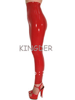 Red latex trousers rubber leggings front zipper under crotch for women