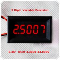 "Four Wires  0.36"" Variable Precision DC 0-33 V Digital Voltmeter voltage panel meter led display  Color: Red [ 4 pieces / lot]"