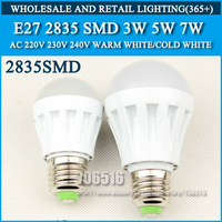 5PCS/lot led bulb lamp High brightness lights E27 3W 5W 7W 2835SMD AC220V 230V 240V Cold white/warm white Free shipping