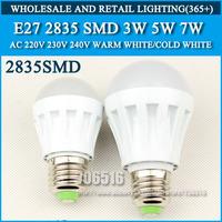 5PCS/lot led bulb lamp High brightness lights E27 3W 5W 7W 2835SMD AC220V 230V 240V Cold white/warm white Free shipping