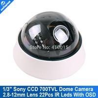 700TVL SONY CCD Effio 22IR 2.8-12mm Lens OSD MENU CCTV security Indoor Dome Camera