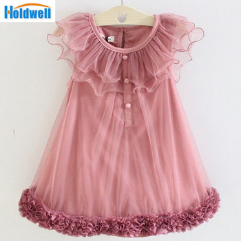Free Shipping 2014 Summer Girls Pleated Chiffon One-Piece Dress With Paillette Collar Children Colthes For Kids Baby, Pink/Beige