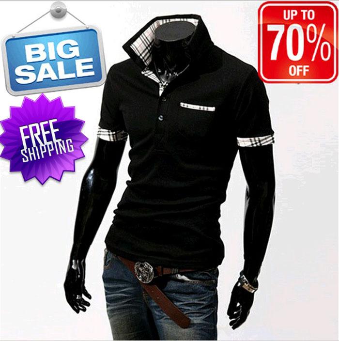 New Mens t shirt Fashion Casual Slim Fit Short Sleeves Polo Shirts