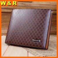 new stylish plaid man luxury holder case travel gentleman leather billfold wallet 3201-1