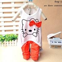 Hello Kitty Baby Clothing Children's Sets Cotton T shirt + Pants roupas infantil meninas Kids Clothes Sets Girls Clothing Sets