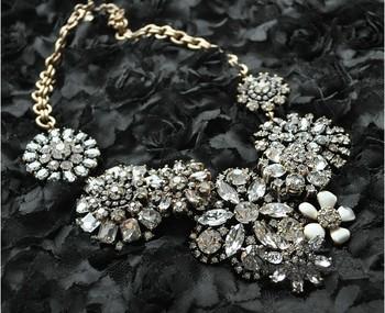 2014 fashion accessories JC luxury jewelry Crystal Flower Lattice Statement Necklace Costume OEM
