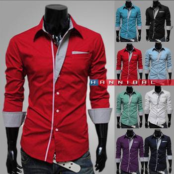 2014 New Dress Fashion Quality Long Sleeve Shirt Men.Korean Slim Design,Formal Casual Male Dress Shirt.Solid Color.Stripe CF