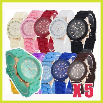 5PCS/lot Wholesale GENEVA Cute Stylish Soft Silicone Rubber Gel Quartz Wrist Watch for Lady Women Girls Mint Green Free Shipping