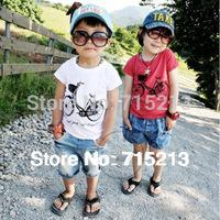 Free Shipping 2014 summer New bicycle/Aircraft boys clothing girls clothing baby short-sleeve T-shirt boy tops