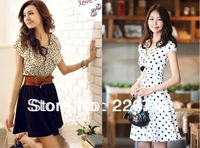 Korean women summer New fashion chiffon dress Short-sleeve polka waist mini pleated dot dress,casual dress