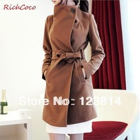 Free Shipping Winter Trench Casual Wool Women Coat Adjustable Waist Mid-Long Single Breasted Casacos Coats Women D003