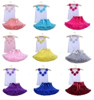 2pcs Fashion baby girl kids summer clothes set Girls pettiskirt tutu skirt set Rosettes top Princess Birthday set  2-9 Ys