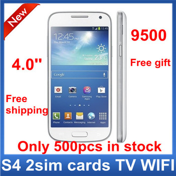 """New Free Shiping Unlocked GSM Quad Band Dual Sim Cards WIFI TV 4.0"""" i9500 Mini S4 mobile phone Support Russian Free Gift"""