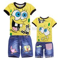 Boys Girls clothing sets Baby Boys Summer Spongebob Baby Girls Kitty T-shirt+ denim pant set Kid apparel